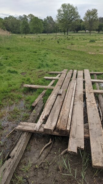 """The makeshift """"bridge"""" over a section of trail that's almost always muddy or flooded."""