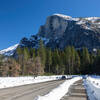 Half Dome from a snow covered Yosemite Valley.