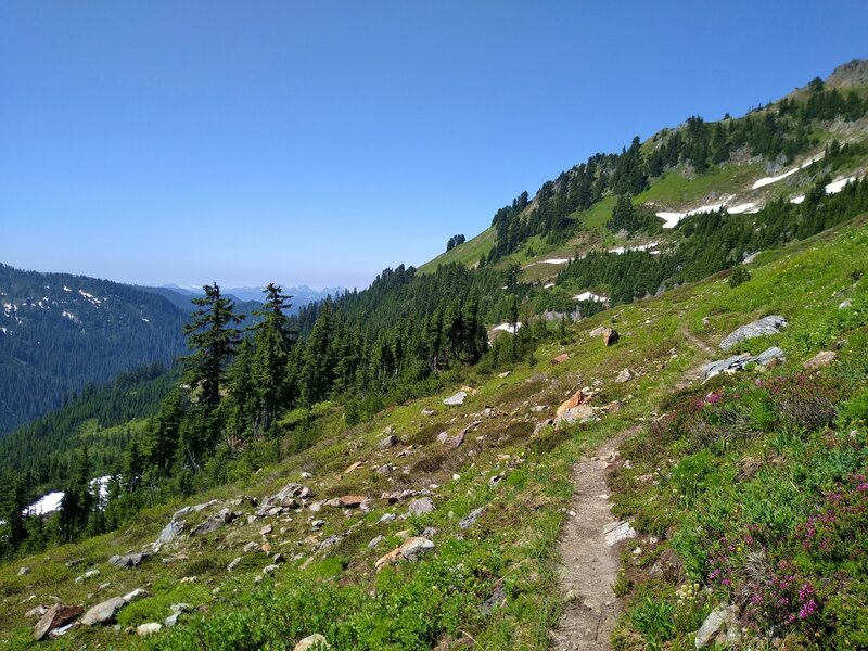 Bald Eagle Trail traverses a high ridge with the North Fork Skykomish River drainage below to the left/southeast.