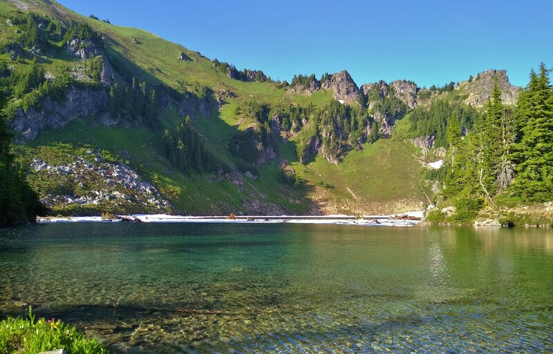 The clear, cold waters of Blue Lake, set in a high mountain cirque.