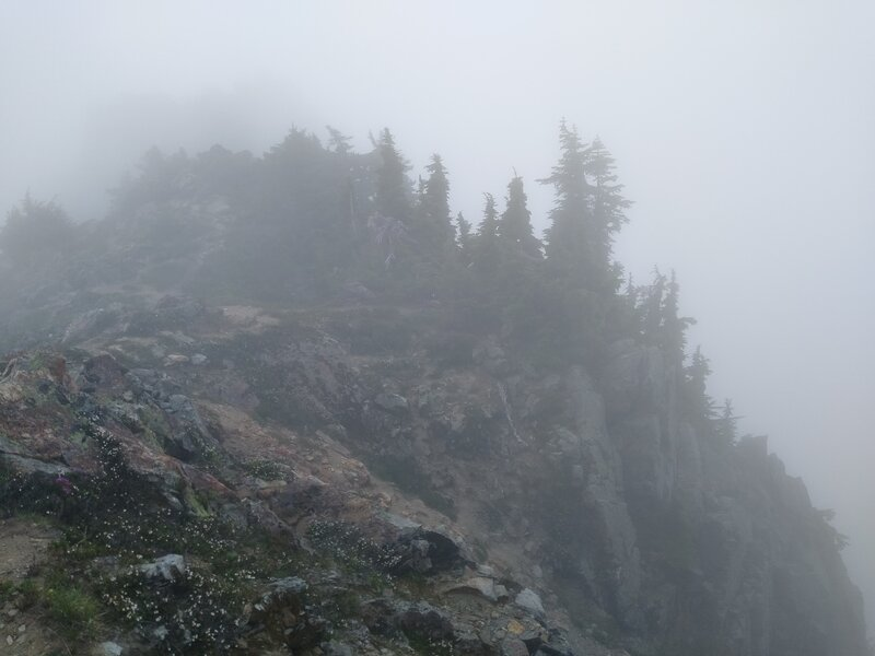 """On the knife edge ridge, the high point of the Blue Lake High Trail, view to the southwest along the ridge top on a """"socked in"""" day."""