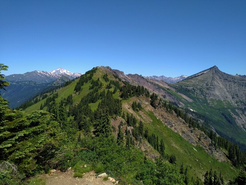 Snowy Glacier Peak, 10,541 ft. (left of center), nearby Longfellow Mountain, 6,577 ft. (center), and Whittier Peak, 7,281 ft. (right), looking north from Poe Mountain, 6,015 ft.