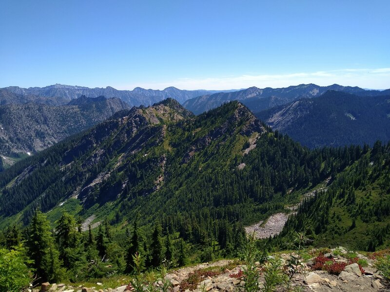 Mountains stretch on forever to the east-northeast, as seen from Poe Mountain, 6,015 ft.