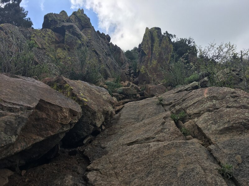 Some of the rock scramble near the top.