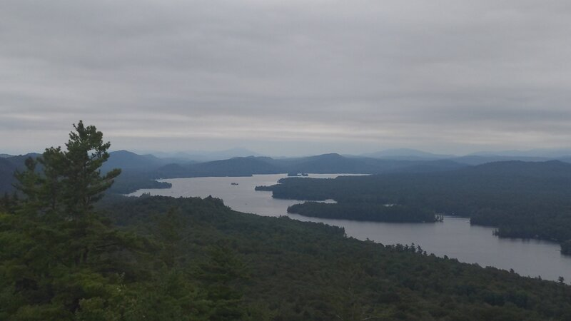View From the peak looking North-East. Fourth Lake I believe.