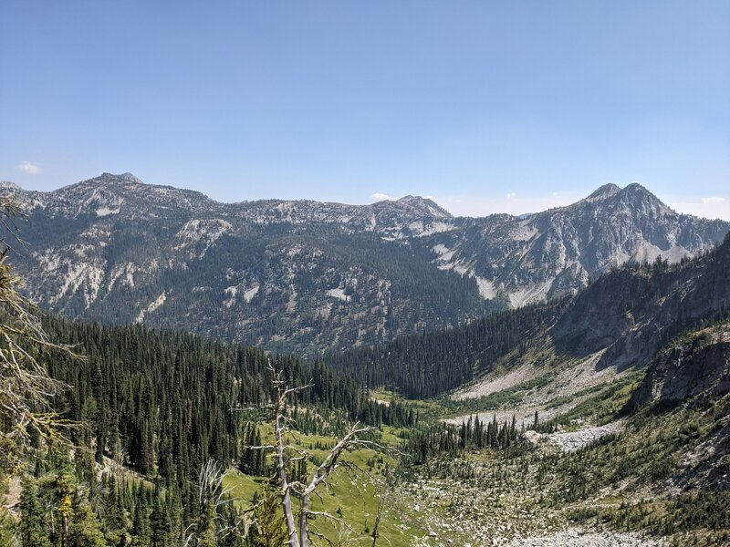 Looking back down valley of West eagle trail, directly across is ridge that leads into Eagle Lake/Main Eagle