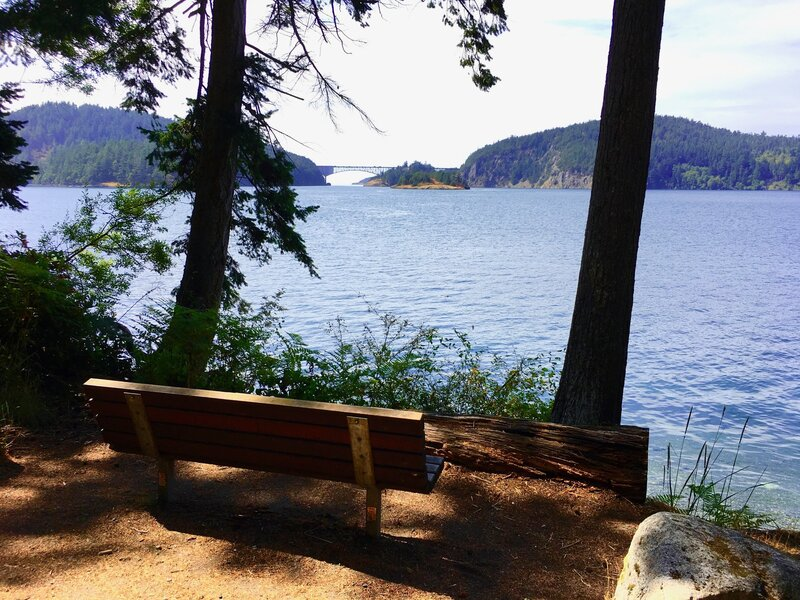 Cornet Bay Road offers easy walking and a bench with a view of Deception Pass bridge.