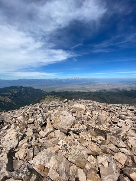 Top of Jackson Peak overlooking Jackson Hole and Teton National Park.