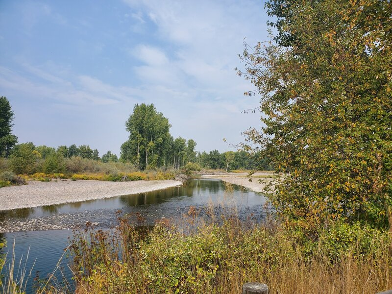 Looking upstream from the parking area.