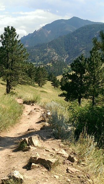 Views of Bear Peak and the edge of the Flatirons