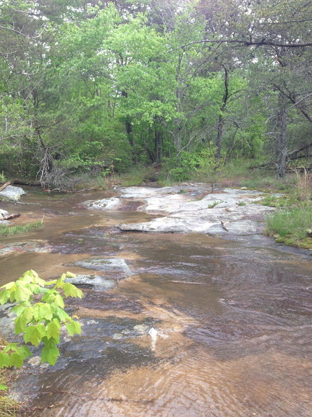 Favorite creek crossing, just solid rock, fun dry or wet.  Oblique angle across, be sure to find the diamond blaze pointed on the rock to stay in the right direction.