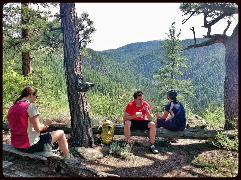 Lunch spot: and example of the great views and dense forest that makes this ride a great option on those hot summer days