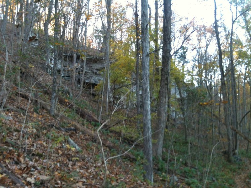 The bluffs between the South Plateau Loop (above the bluff) and the Mountain Mist Trail (visible on the bottom right).