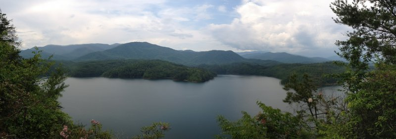 Fontana Lake, from the Tsali Left Loop.  The Great Smoky Mountains National Park is across the lake.