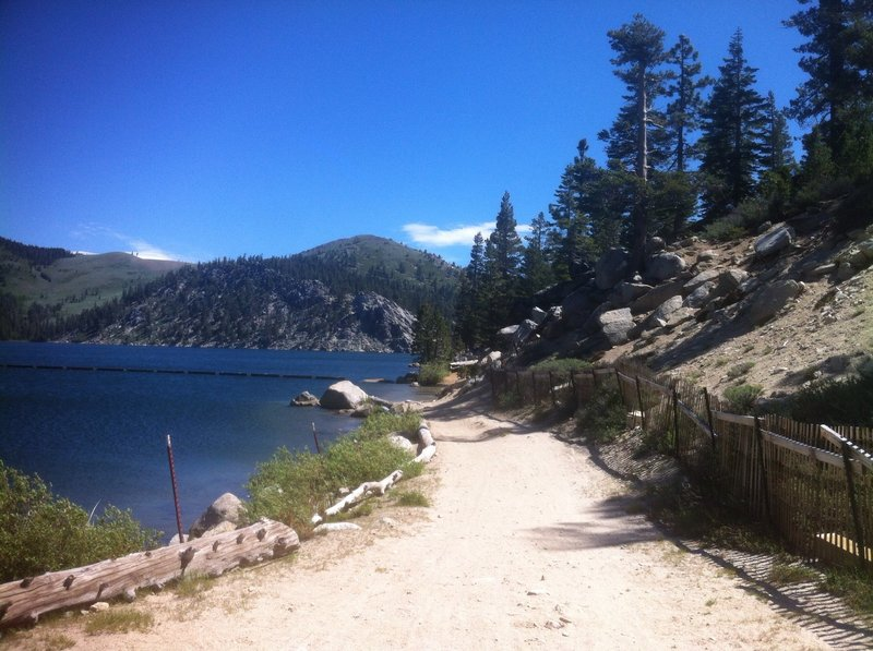 View back at Lake Marlette water crossing before entry to the Flume Trail
