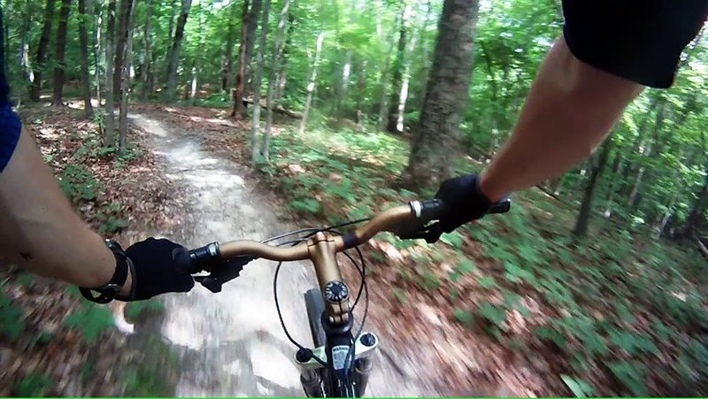 Enjoying the flowing singletrack of the Copperhead trail.