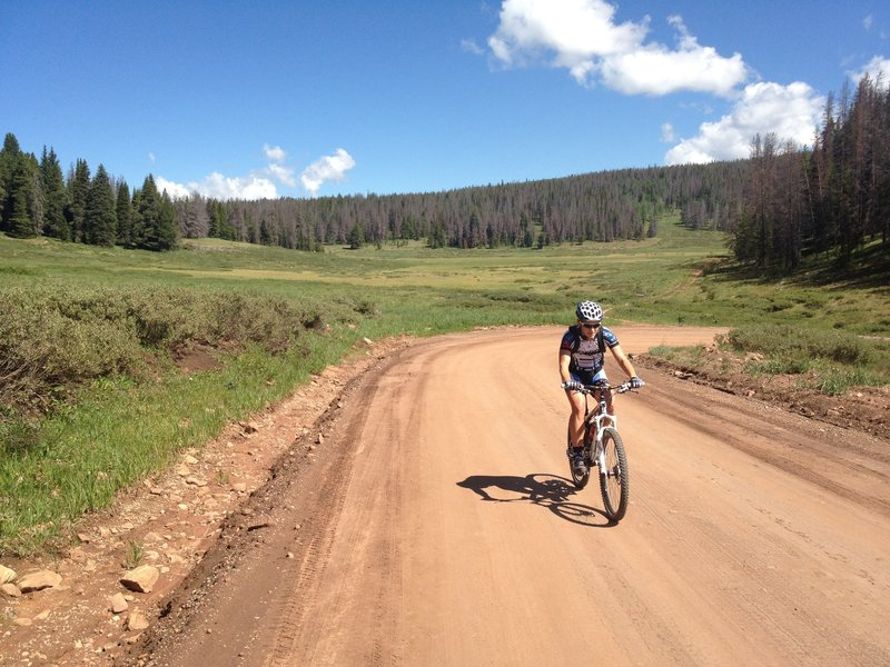 Near the end of a long climb up a dirt road...