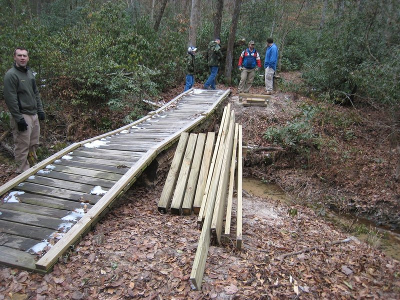 The Bridge Too Far replacement. Originally just two white oaks lain across the creek so the trail building machine could cross. The closest we can get to it by boat still requires about a two mile hike.