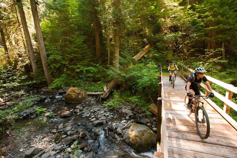 Bridge crossing after an amazing descent on the Deer Leap segment.