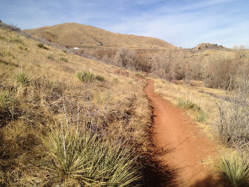 Bicycle specific section of the Red Rocks trail.  One-way, downhill travel to the parking lot.