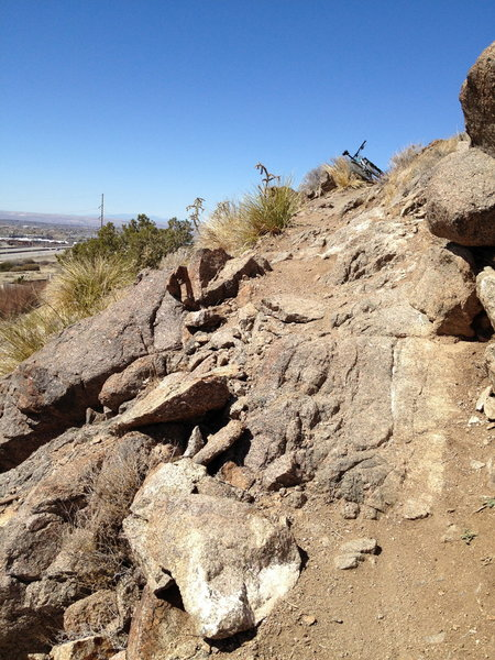 Technical step on the switchback climb