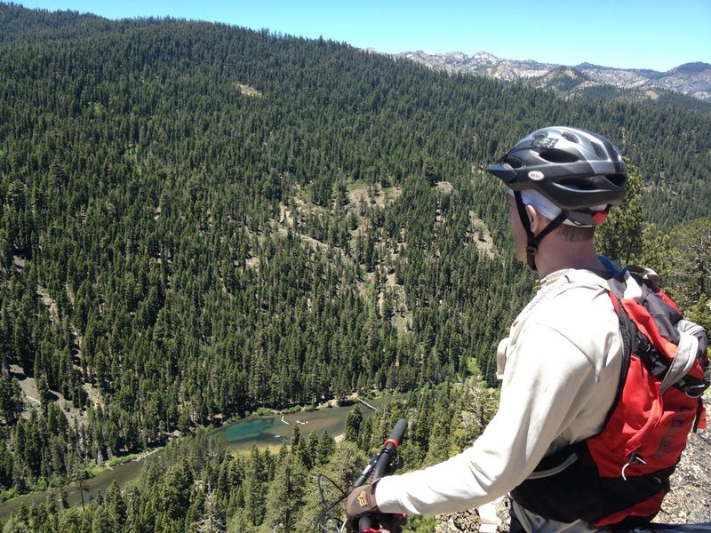 Looking down at the Truckee River