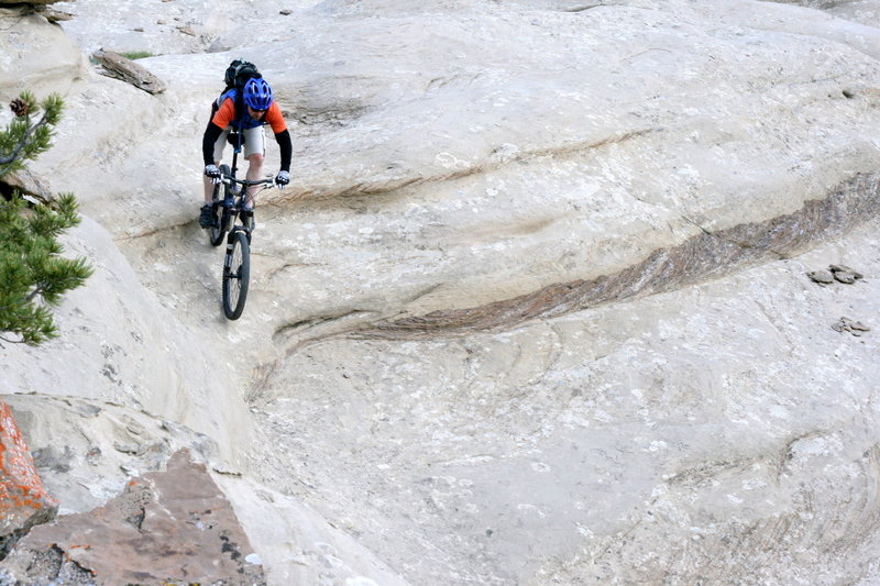 Your first drop-in on Cody's Slickrock trail is an eye opener.