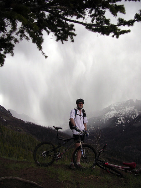 Time to turn downhill and outrun the rain on the Blackwater Fire Memorial Trail.