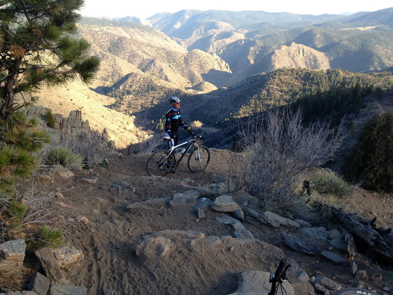 A short technical section that beginners may want to walk down.  Clear Creek Canyon in the background.