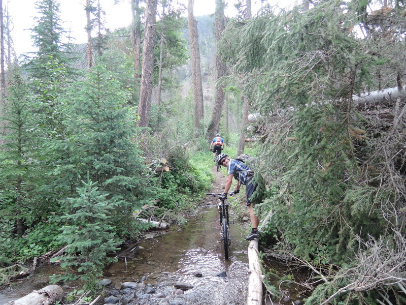 Crossing Blackwater Creek. Sometimes you can keep your feet dry, and sometimes you can't.