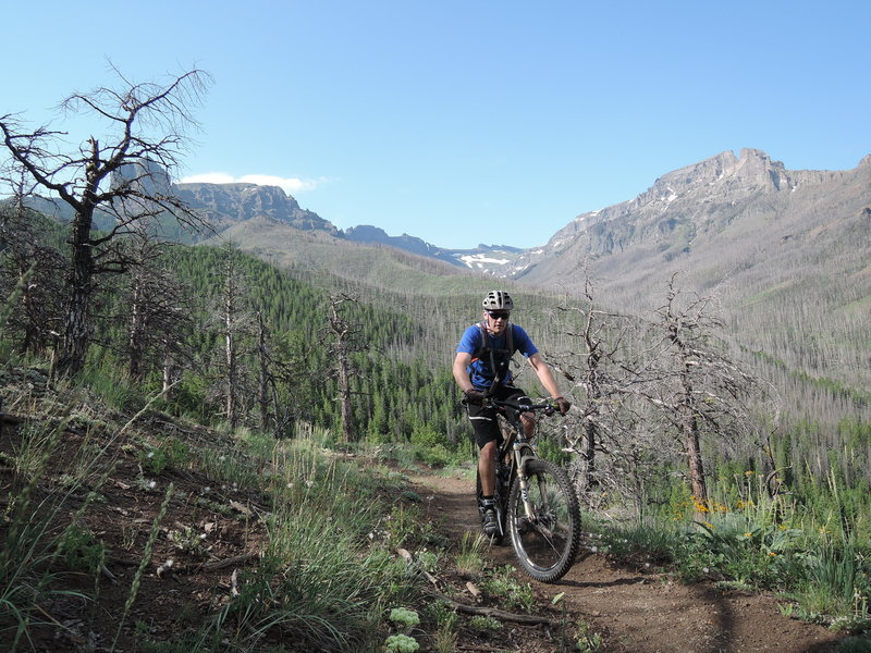 Don't worry, he'll be smiling when he turns around and rides this down. The switchbacks are big, wide and totally rideable. The remaining standing dead trees in the distance record more recent fire activity.