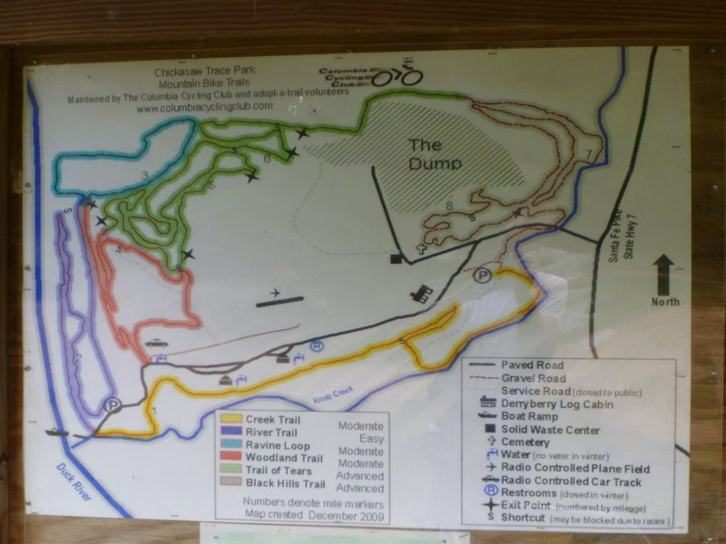 Trail map showing all shortcuts.