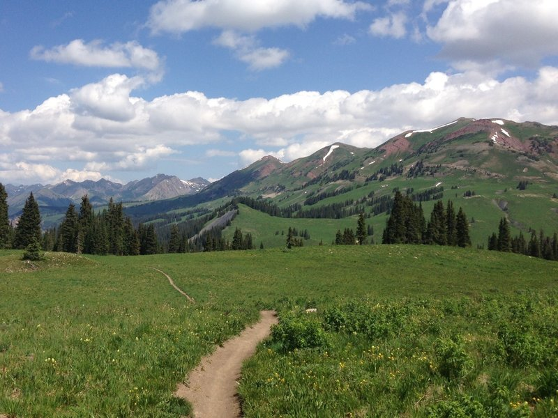 Towards the top of 401 climb looking back at the Maroon Bells