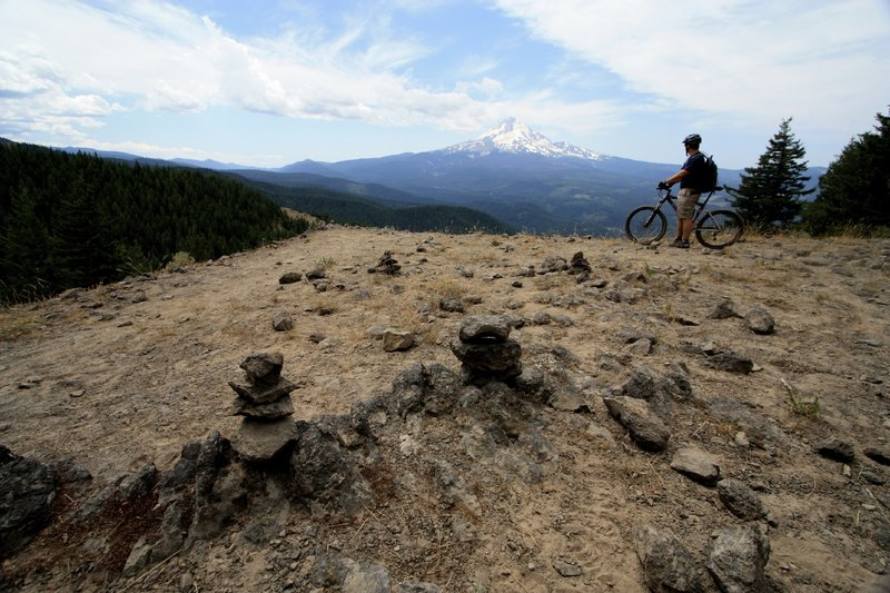 A pause along the Surveyors Ridge Trail to soak in the view of Mt. Hood.