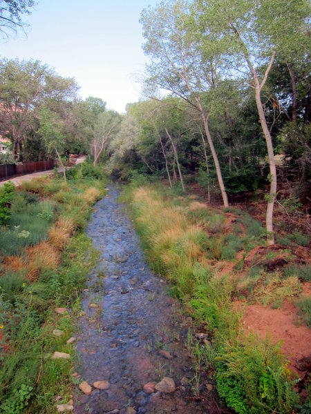 The Mill Creek Parkway parallels Mill Creek as it flows through Moab. This view is from the bridge where the Parkway crosses the creek at the west end of Rotary Park.