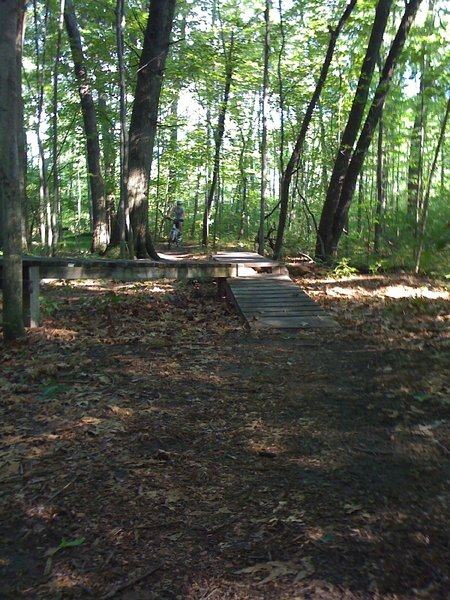 Hickory Glen - small ramp feature with a skinny/drop off or ramp down option.