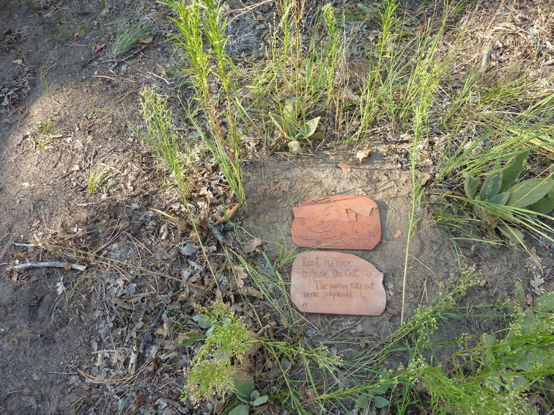 Stephanie's marker.  Found when building the trail, hence the trail's name!