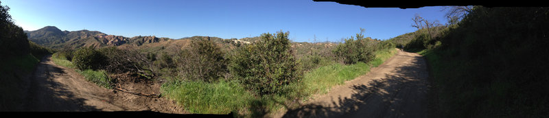 A panoramic shot of the view while you climb Mustard Road