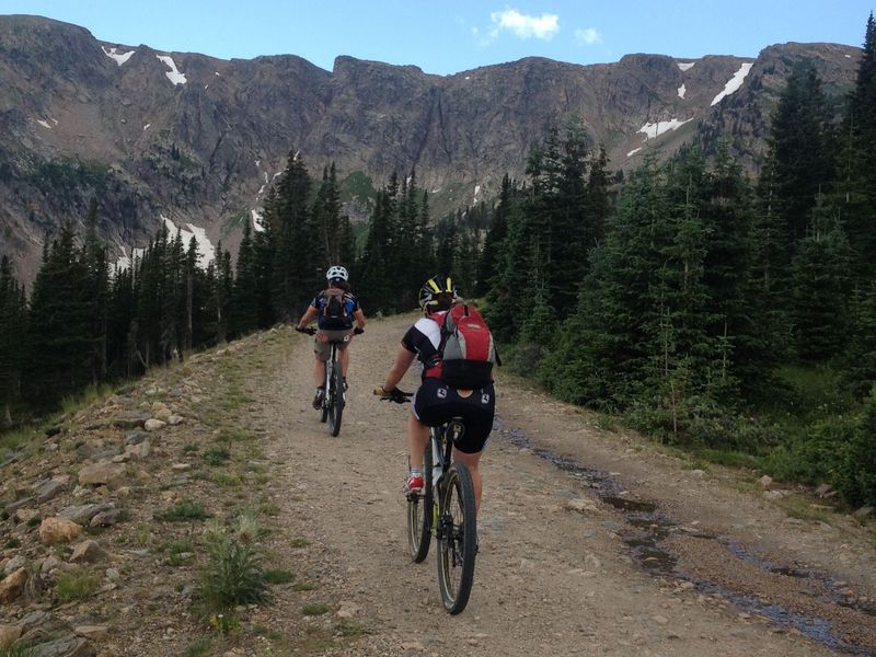 The final switchback before the divide, right at treeline