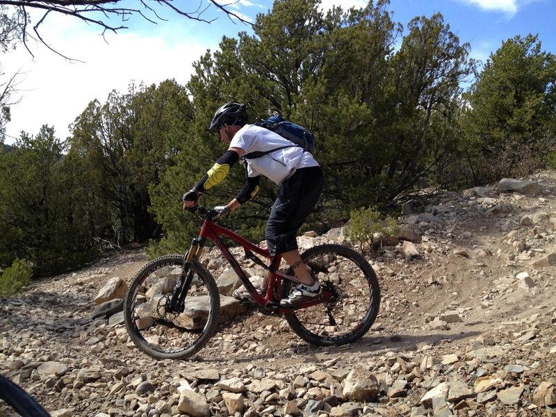Switchbacks on Blue Ribbon dropping into Otero Canyon.