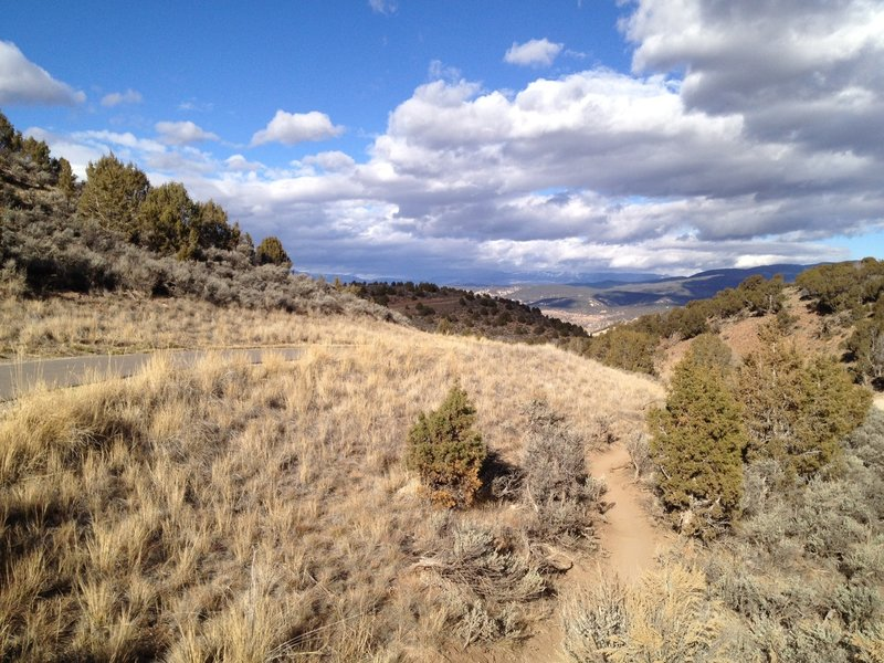 Mayer Gulch trail at intersection with paved trail.  Looking north towards the town of Eagle.