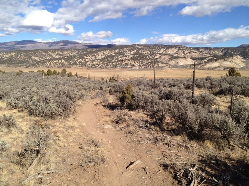 The Riddle Trail along the fence line.  Looking north with Castle Peak in the background.