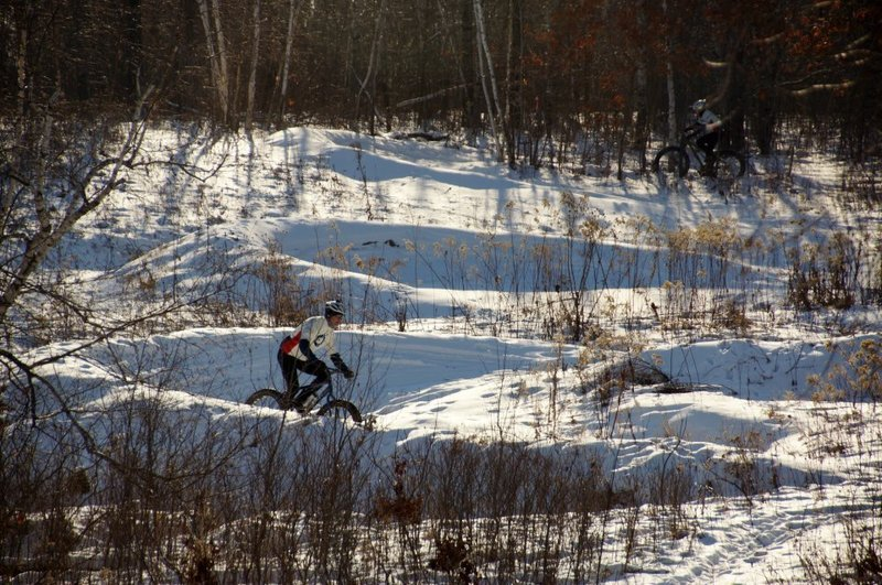 The berms can be fun to ride even in the winter.