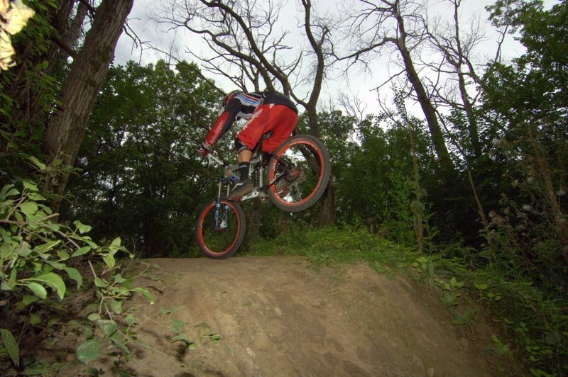 Rider getting air off the tabletop jump.