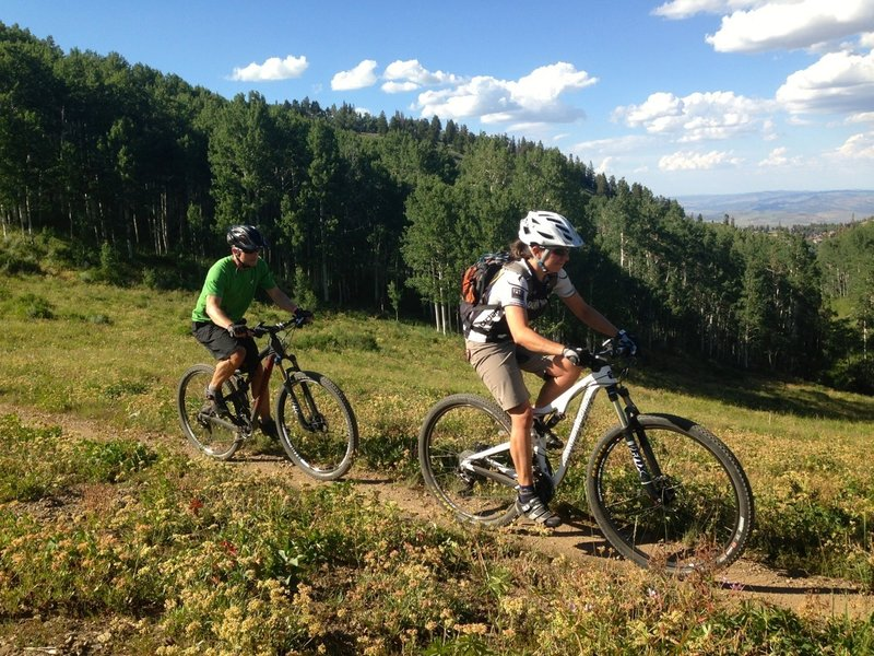Flagstaff emerges from deep forest into beautiful meadows.