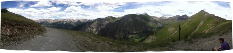 Panorama of the top of this ride. From this spot you can see Ballard, La Junta, Wasatch, K12, San Joaquin, Palmyra and many other great San Juan mountains.