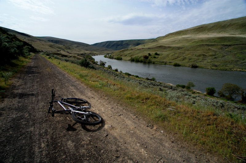 Taking in views of the Deschutes River Valley from the trail.