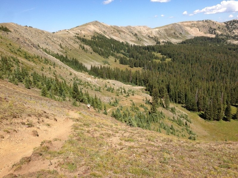 Heading down the first section of Fooses; it's a steep and loose but very ride-able section of trail