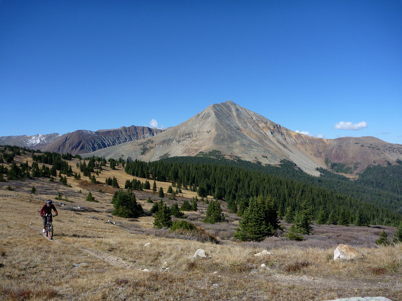 Ryan Raymond on the Colorado Trail with Mt Guyot in the background