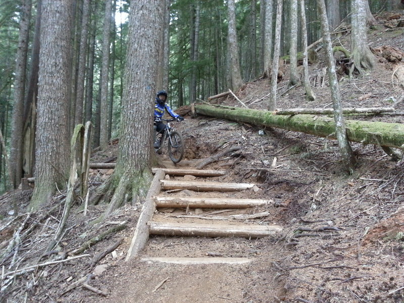 New hiking steps. While descending you'll come upon it around a blind corner with a slight uphill right hand corner. It goes clean but give it fast, lean back and ride the ripple.